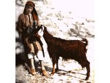 A Beduin shepherd boy with a goat. An early photograph.